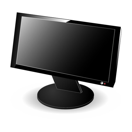 Black LCD computer wide monitor isolated over white background Stock Photo - 3984460