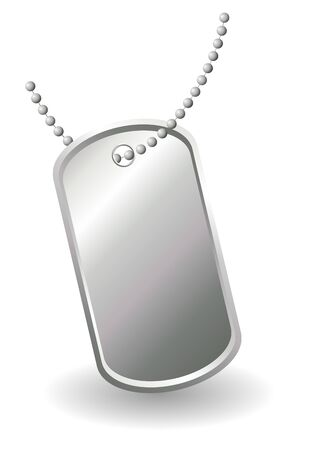Dog tags or identity plates with copy space over white background photo
