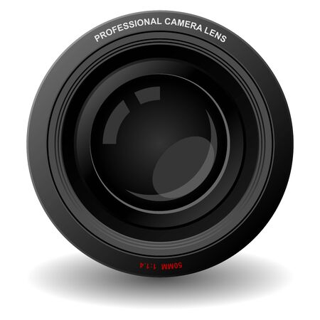 Camera lens isolated over square white background Stock Photo - 4012718