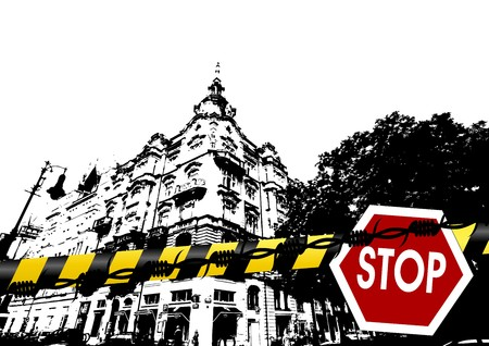 Grunge city scenery with barbed wire police lines and traffic sign photo
