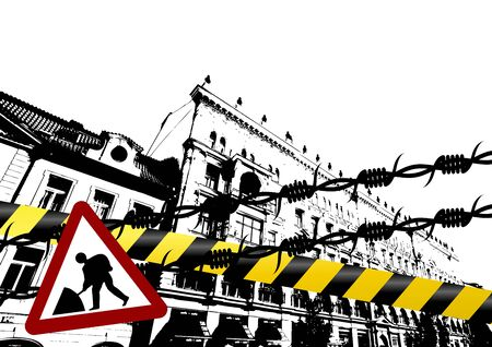 Grunge city with barbed wire police lines and traffic sign photo