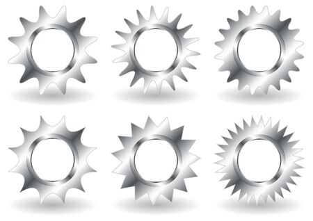 gearings: Different stylized cogwheels isolated over white background