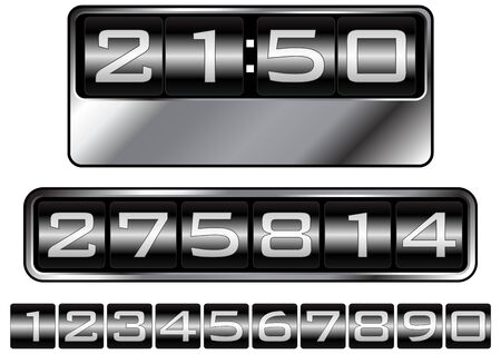 Set of numbers simulating dashboard counters clocks or tag prices. Stock Photo - 4144257