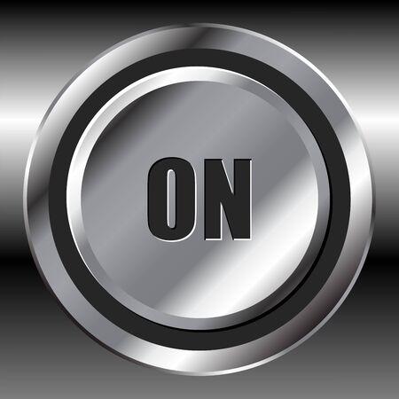 Metallic on interface round button over metallic surface Stock Photo - 4144255