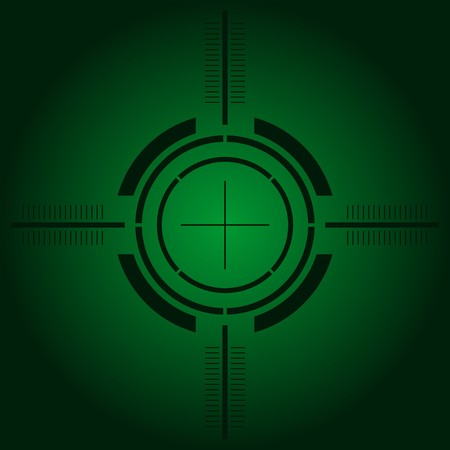 shooting gun: Gun sight over green simulating night vision