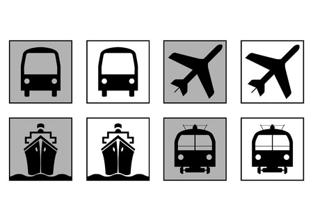 informative: Trains plains boats and bus. Transportation symbols. Informative signs
