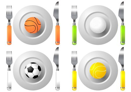 Conceptual. Sport and food. Dish knife and fork with balls photo