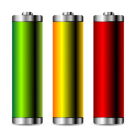 Batteries with different colors isolated over white Stock Vector - 4535144