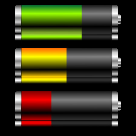 Batteries with different charge levels and reflex over black Vector