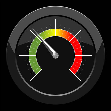 pressure gauge: Manometer with colored scale over black background Illustration