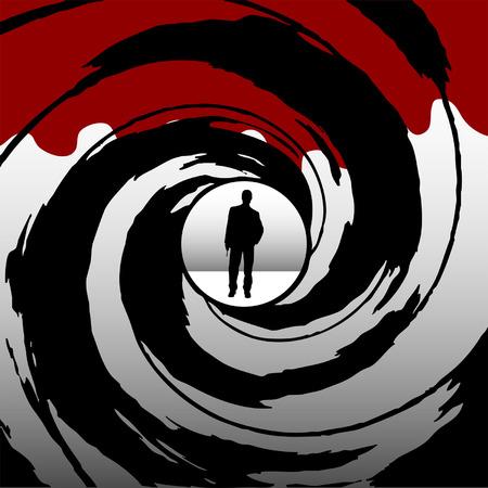 espionaje: Hombre armado visto a trav�s de una pistola barril Vectores