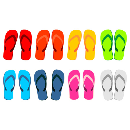 Beach sandals set. Different colorful flip-flops over white background