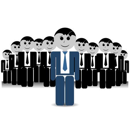 teamleider: Teamleider met zijn spullen op witte achtergrond Stock Illustratie