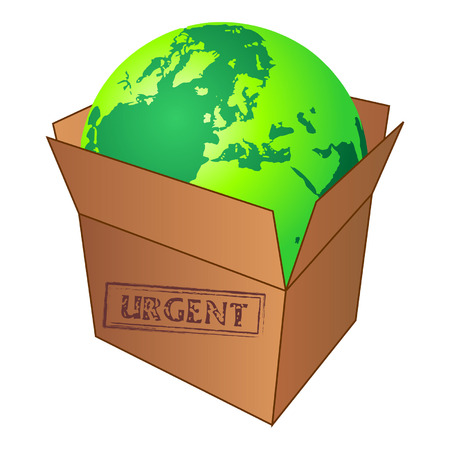 Terrestrial globe inside cardboard box over white Vector