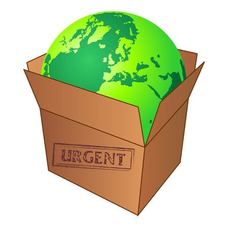Terrestrial globe inside cardboard box over white Stock Vector - 4641884