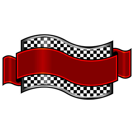 Race badges with red ribbon over white background