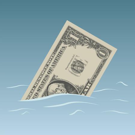bearish business: Conceptual dollar bill sinking in trouble waters Illustration