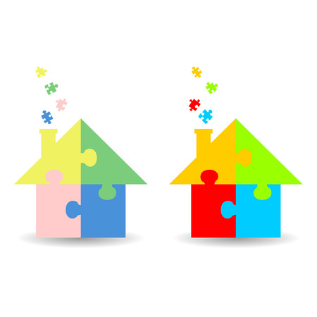 piece: Colourful jigsaw puzzle houses isolated over white background