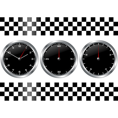 Black watches and chronographs with checkered flag over white