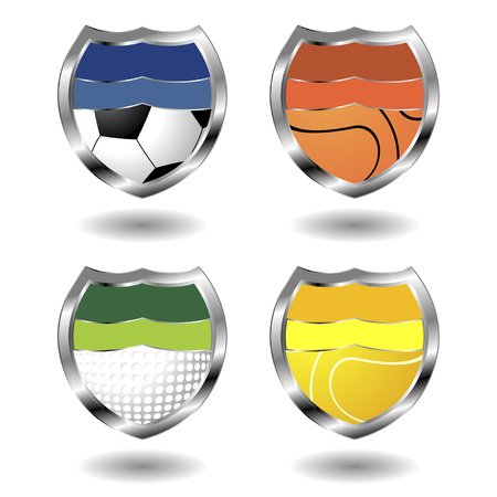 Sport badges ornamented with balls over white background Vector