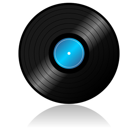 rotations: Vinyl record with reflex over white background