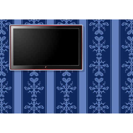 LCD television over bluish vintage pattern wallpaper Vector