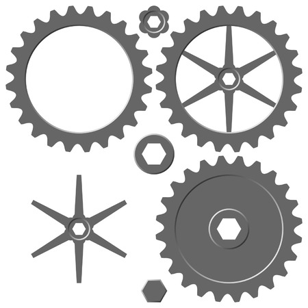 gearings: Different cogwheels with separated elements over white