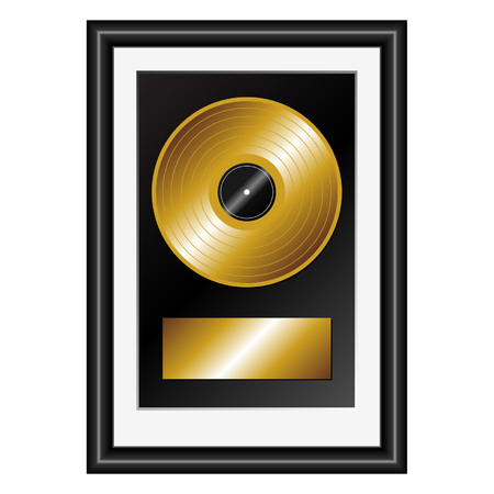 Framed vinyl golden record with plate to insert text Vector