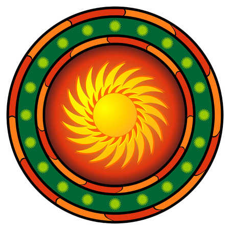 cultura maya: M�xico logo con el sol caliente y colores m�s blanco