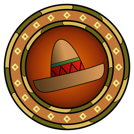 racial: Mexican logo with sombrero and hot colors over white