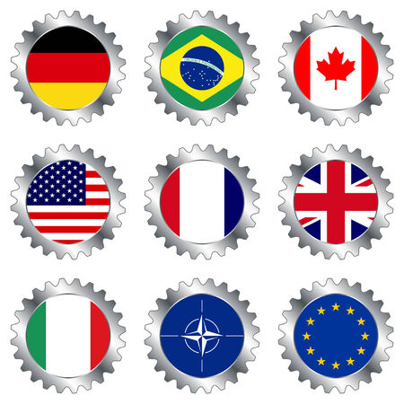 gearings: Cogwheels with flags isolated over white background