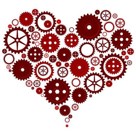 gearings: Heart made with different cogwheels over white
