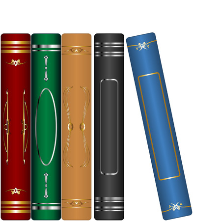 aligned: Classic books set isolated over white background Illustration