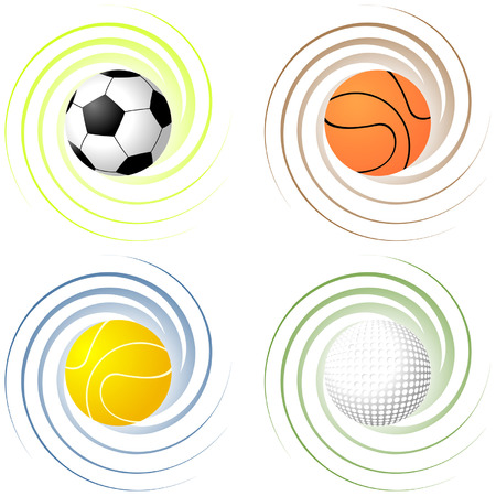 Sport balls over twisted color backgrounds Vector