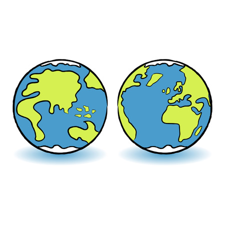 Childish colorful terrestrial globes over white background Vector