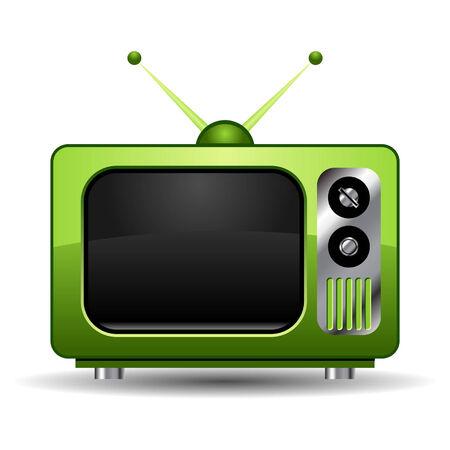 set de television: Verde retro televisi�n aislado m�s de blanco