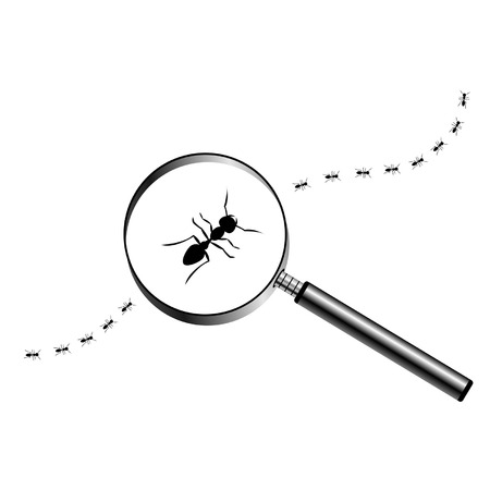 optical glass: Magnifying glass with marching ants over white background Illustration