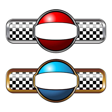 Gold and silver race badges over white Vector