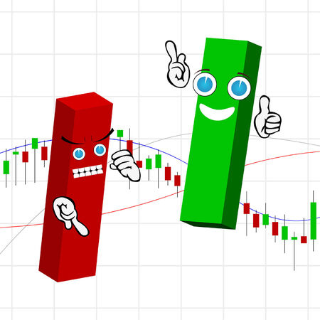 stock market chart: Candle stick chart with short and long funny bars