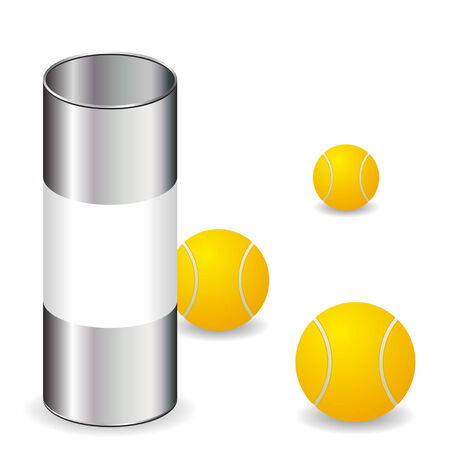 conservative: Tennis balls with can isolated over white background