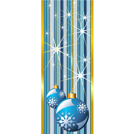 Blue Christmas banner with snow crystals and balls Vector