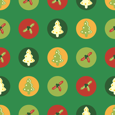 Christmas square seamless paper with tree and holly Vector