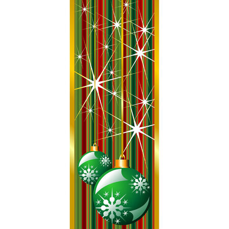 Green Christmas banner with snow crystals and balls Stock Vector - 5327160