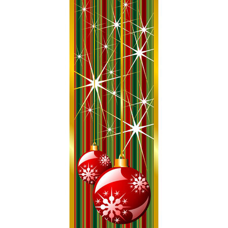 Red Christmas banner with snow crystals and balls Stock Vector - 5357521