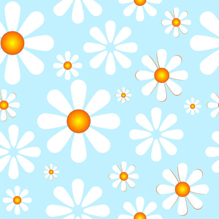 seasonable: Seamless spring pattern with white flowers over blue Illustration