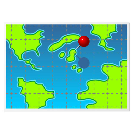 pinhead: Fake map with color pin isolated over white Illustration