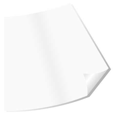 bended: Bended paper sheet corner in perspective over white