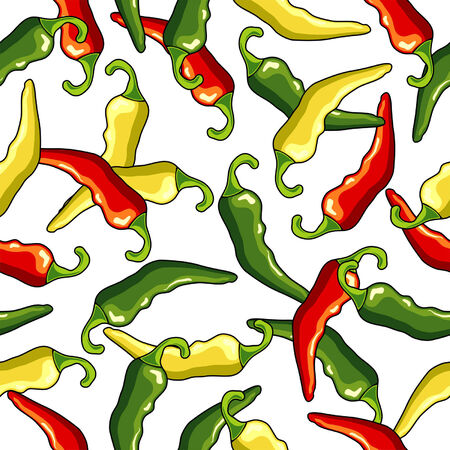 Chili peppers seamless pattern with white background