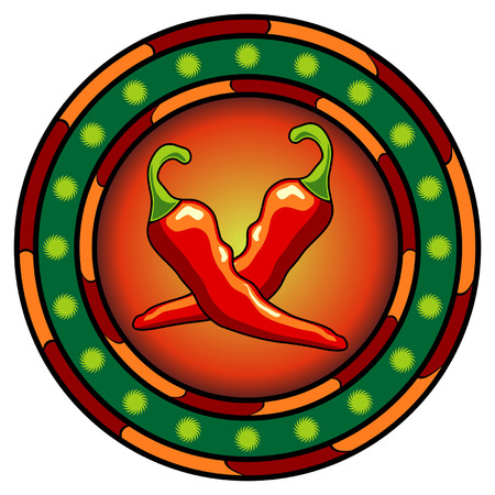 chili: Mexican chili peppers logo with hot colors over white Illustration