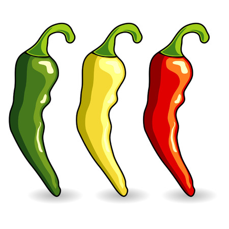 Mexican hot chili peppers isolated over white